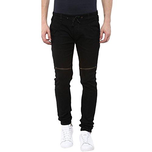 Urbano Fashion Men's Slim Fit Joggers (zip-jog-hps-black-32-fba_Black_32)