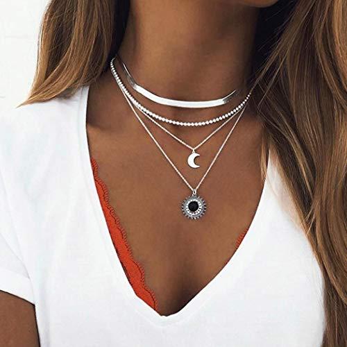 Simsly Collier ras du cou bohème avec pendentif en forme de croissant de lune - Argent - Réglable - Pour femmes et filles