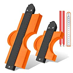 """With Lock: Eliminate the trouble of losing graphics due to accidental touch. One step to lock contour gauge teeth and keep its shape. 5 PCS in Pack: You will receive one 5"""" & 10"""" contour gauge and a precision steel ruler and 2 carpenter pencils in on..."""