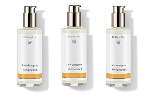 Dr.HAUSCHKA–Reinigungsmilch 3Packungen 145ml, Kosmetikdose Schonreiniger Behälter Normale, trockene und empfindliche Haut,