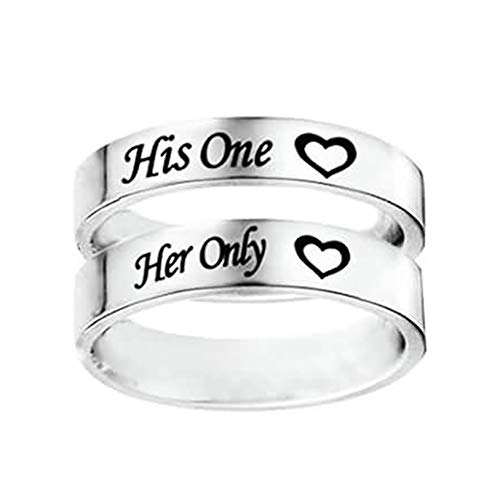 Daesar Bague Fiancaille Couple, Alliance Acier Inoxydable Femme Homme His One Her Only Coeur Rond 6 MM Anneau Argent Femme Taille 54 & Homme Taille 66.5