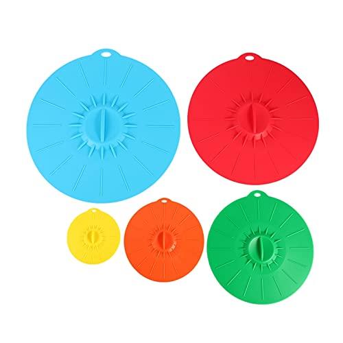 Juego de 5 utensilios de cocina de silicona para microondas, tapa de olla, tapa de silicona para envolver alimentos, utensilios de cocina, utensilios de cocina (color: como se muestra)