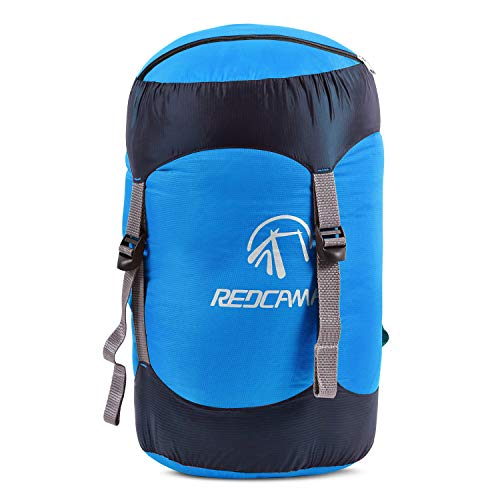 REDCAMP Nylon Compression Stuff Sack, Lightweight Sleeping Bag Compression Sack Great for Backpacking, Hiking and Camping, Blue L