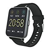 YIRSUR Smart Watch 2020 Ver. for Android & iOS, HD Touch Screen Fitness Tracker A-GPS with Sync Notification IP68 Waterproof Heart Rate Recorder Step Counter Sleep Monitor for Women Men (Black)