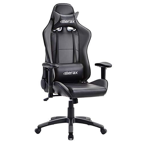 PovKeever Gaming Stuhl Ergonomischer Computerstuhl Racing Gamer Stuhl mit hoher Rückenlehne und Wippfunktion, höhenverstellbarer Chefsessel aus Kunstleder