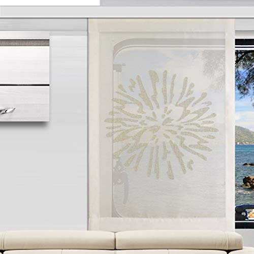 SeGaTeX home fashion Flächengardine Wohnwagenstore Poesie Creme hochwertige Caravan-Gardine mit Profilen Tunnelband