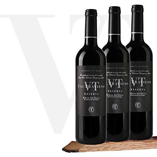 Caja Vino Tinto Valtravieso Reserva Premium - Estuche Regalo Vino Ribera del Duero Tinto Fino (80%), Cabernet Sauvignon (10%) y Merlot (10%) - Pack de 3 Botellasx750 ml
