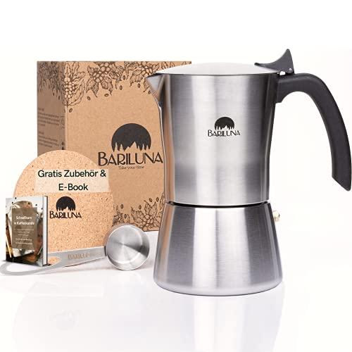 BARILUNA® Premium Espressokocher aus Edelstahl, Induktionsgeeignet, 4-6 Tassen Espresso, 150-300 ml Mokkakocher, Campingkocher, Kaffeekocher mit Zubehör, Alu-frei für Kaffee (6 Tassen, 300 ml)