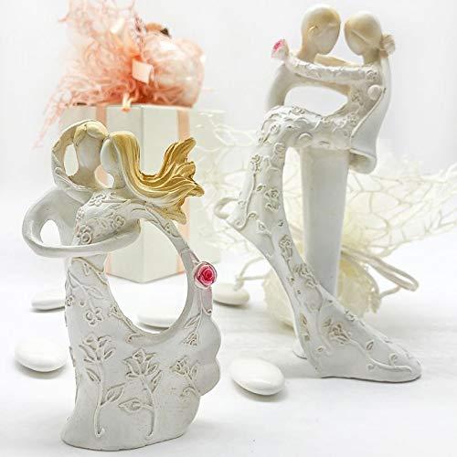 Ingrosso e Risparmio 6 Statuette Moderne in Resina Che raffigurano Una Coppia di sposi stilizzati, Assortiti in 2 Modelli, bomboniere economiche Matrimonio, Anniversario (Senza confezionamento)
