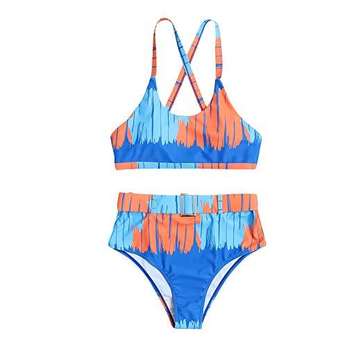 Gybify Bikini para mujer push up, brazilian Split Neckholder colorantes, bikini push up Set Top y pantalones selección de colores azul M
