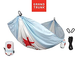 Backpacking and Festivals Portable with Carabiners and Haning Kit Perfect for Outdoor Adventures Grand Trunk Flag Series Single Parachute Nylon Hammock