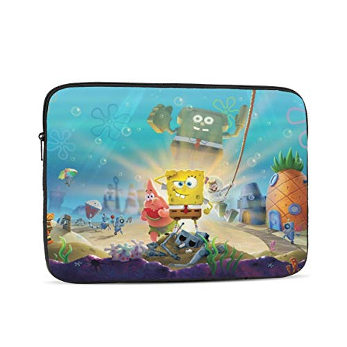 Spongebob Laptop Sleeve 3D Printing Polyester Waterproof Shock Resistant with Zipper Protective Case,Compatible Satchel Tablet Carrying Sleeve 10 inch