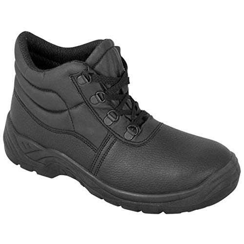 DURUS WORKWEAR Steel Toe Cap Safety Protective Midsole Chukka Boot Black
