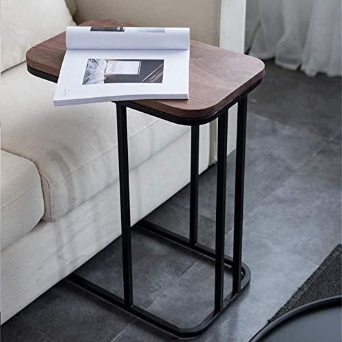 Bijzettafel einde tabbladen C-vormige Brown Walnut hoekbank Side bijzettafel, zwart gelakt metalen frame, woonkamer slaapkamer bijzettafel