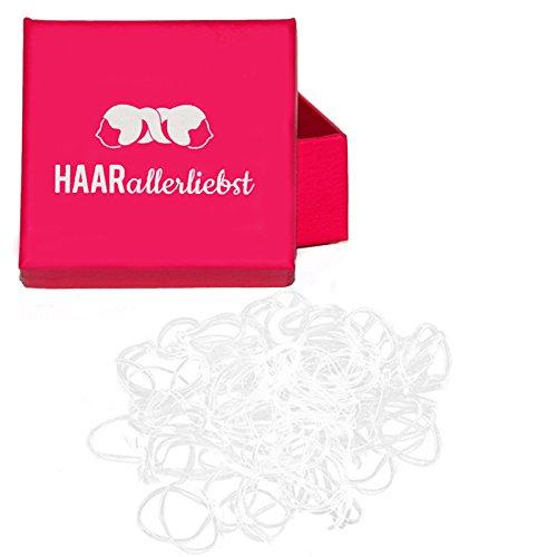 HAARallerliebst Haargummis Gummibänder durchsichtig mini klein (250 Stück | transparent | 1cm) inkl. Schachtel zur Aufbewahrung (Schachtelfarbe: pink)