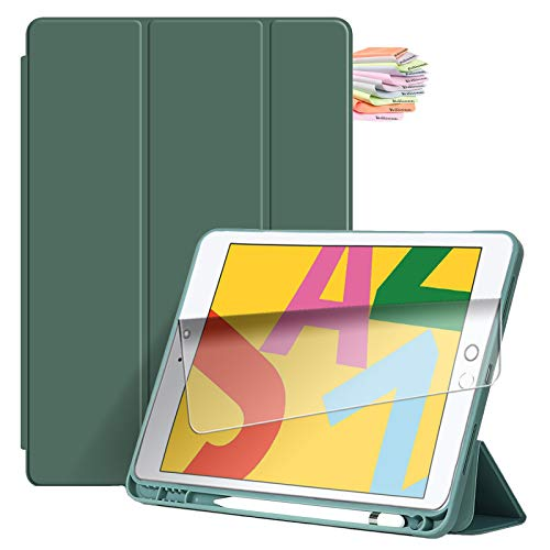 Billionn Capa para iPad 9,7 polegadas (iPad 6ª / 2017 iPad 5ª geração), com suporte para lápis e hibernar/despertar automático, também serve para iPad Air 2/iPad Air - Verde escuro