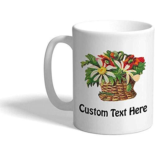 Taza de café personalizada 330 ml Cesta de flores Una taza de té de cerámica botánica Texto personalizado