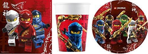 JT-Lizenzen Partyset Lego Ninjago / Ninja für 8 Gäste zum Geburtstag / 8 Teller / 8 Becher / 20 Servietten