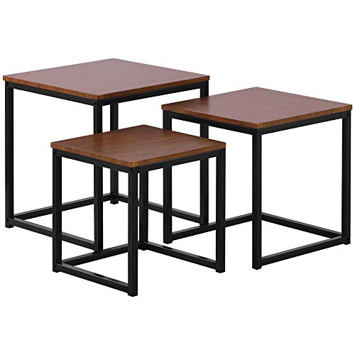 DDU – Juego de 3 mesas nido de salón, mesa auxiliar, mesa baja, mesita de noche con patas de metal, se entrega en 7-12 días