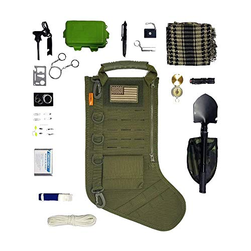Gearrific Tactical Christmas Stocking Pre-Filled with Gifts for Him, Soldiers, Military or Survivalists (32-Piece Set (Green))