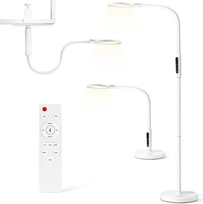 Stehlampe LED Dimmbar, 12W 3 in 1 LED Stehleuchte Leselampe mit Fernbedienung und Touch-Schalter für Wohnzimmer, Schlafzimmer, Büro, 5 Farbtemperaturen und 5 Helligkeitsstufen 800LM Weiß (12W 3 in 1)