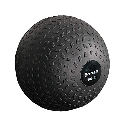 Titan Fitness 100 lb. Rubber Tread Medicine Slam Spike Ball Exercise Weight Workout
