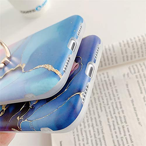 Bakicey iPhone 12 Pro Max Hülle, iPhone 12 Pro Max Marmor Handyhülle mit 360 Grad Ring Ständer Ultra Dünn Soft Silikon TPU Bumper Stoßfest Case Anti-kratzt Schutzhülle für iPhone 12 Pro Max, 06
