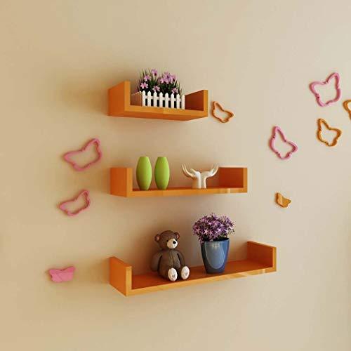 YXNN Wandregal U Typ Holz Schwimmendes Regal Pflanze Ständer Hanging TV Kulisse Wohnzimmer-Dekoration Rack-Set 3 Display Sims, 30 + 45 + 60 cm (Color : Orange, Size : 15x30cm+15x45cm+15x60cm)