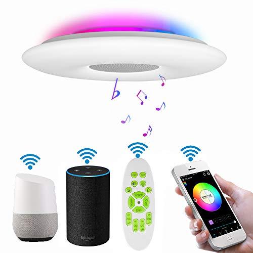 Deckenleuchte LED Dimmbar mit Fernbedienung RGB Farbwechsler Kompatibel mit Alexa Google Home Bluetooth Lautsprecher 36W Ø30CM Deckenlampe Warmweiss- Kaltweiss 3000K-6500K/2.4Gwifi/3000lm