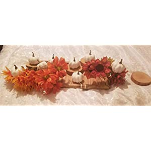 sellerstationtop Small Artificial Lifelike White Pumpkin Fall Harvest Mini Pumpkins with Leaves for Home Garden, Fall Harvest Decor, Thanksgiving or Halloween Decoration Smooth Texture No Foam