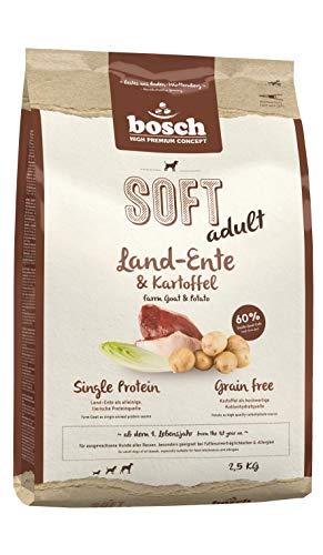 bosch HPC SOFT Land-Ente & Kartoffel | halbfeuchtes Hundefutter für ausgewachsene Hunde aller Rassen | Single Protein | Grain-Free | 1 x 2.5 kg
