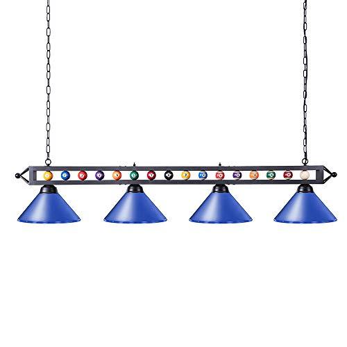 Wellmet Billardtisch-Licht, 177,8 cm, 4 Lichter, verstellbar, hängende Pooltisch-Beleuchtung für Spielzimmer, Kücheninsel, Bar, Esszimmer, blau