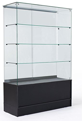48 Inch Glass Display Cabinet with 3 Glass Shelves, Separate Storage Area in Base, Sliding Doors (Black)