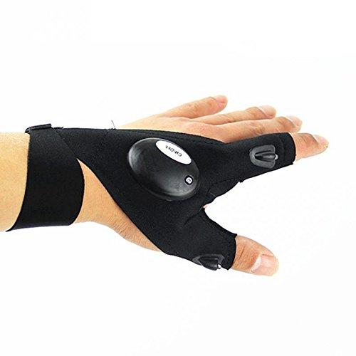 Generic Noir, Taille Unique : 1 Gant de pêche Multifonction étanche sans Doigts, Lampe de Poche à LED de réparation de Survie en Plein air Outil de Sauvetage