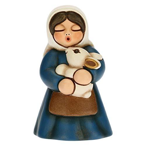 THUN - Statuina Presepe Donna con Coniglio - Decorazioni Natale Casa - Linea Presepe Classico, Variante Blu - Ceramica - 5 x 5 x 8 h cm