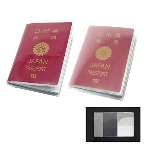 (Aideaz) シンプル 透明 パスポート カバー セット 簡単着脱 防水 防塵 ポケット 付 2種類 (2種 2枚ずつ)