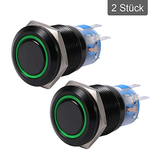 Keenso - 2 interruptores de presión de 19 mm, 12 V, de metal negro y concha, LED, resistentes al agua, de acero inoxidable, autobloqueo, color verde