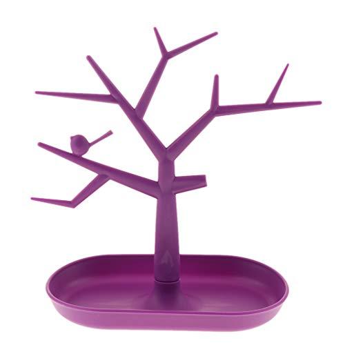 Amagogo Soporte de Joyería de árbol de Pájaro Soporte de Exhibición Colgador Collar de Pendiente Soporte Cosmético - Púrpura