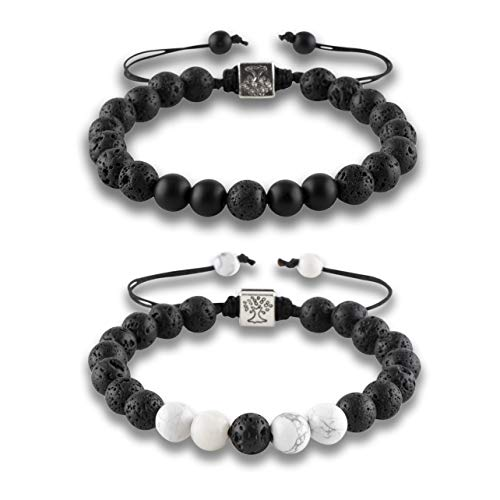 RIVERTREE Black Lava Beaded Bracelet 7 Chakras Gem Stone with Braided Rope Unisex 8mm