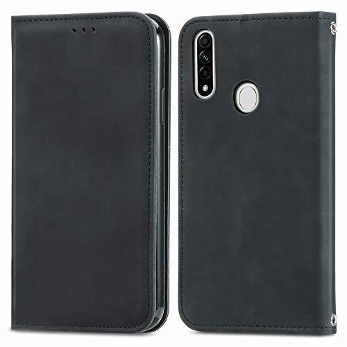 Happy-L Funda para Oppo A8, PU cuero cartera cartera funda [Kickstand] [cierre magnético] [titular de la tarjeta de crédito] Folio Flip Phone Case Cover (Color: Negro)