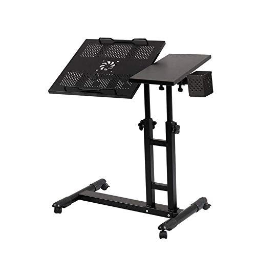 LJ Tisch Schreibtisch Tragbarer Laptop Steh Schreibtisch Wagen Mit Mausbrett Höhenverstellbar 360 ° Drehbar Und 180 ° Kippbar Abschließbare Rollen,H.