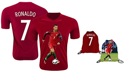 Ronaldo Jersey Style T-Shirt Kids Cristiano Gift Set Youth Sizes Premium Quality with Soccer Backpack, red, YL 10-13 Years Old