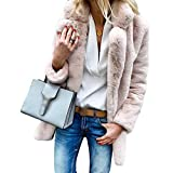 Ketamyy Mujer Otoño Invierno Color Sólido Manga Larga Solapa Abrigo Suave Cómodo Piel Sintética Chaqueta Outwear Rosa M