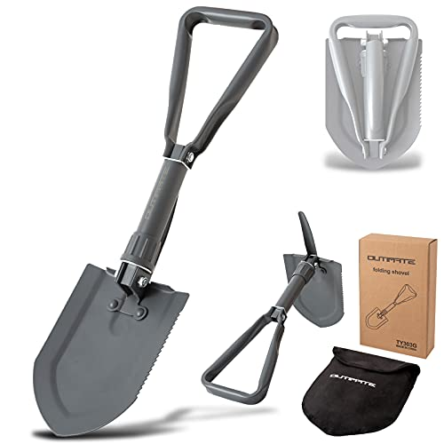 OUTIMATE Folding Shovel Camping Survival Shovel with Storage Bag