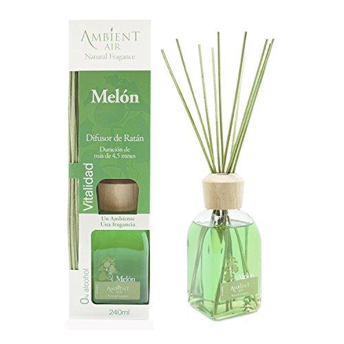 Ambientair Classic. Difusor de varillas perfumadas. Ambientador Mikado aroma Melón. Difusor 240 ml con palitos de ratán. Ambientador para Hogar sin alcohol.
