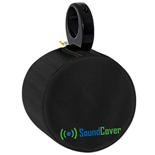 """Black Heavy Duty Marine Large Speaker Covers for Round 8"""" Boat Wakeboard Tower Pod Speakers - Fits Boss Audio, MCM Custom Audio, Rockville Marine Speakers, Sold in Pairs (Size H 14"""" x W 14"""" x D 12.8"""")"""