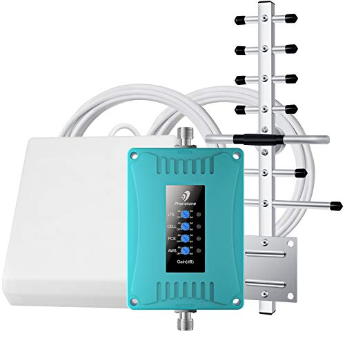 5-Band Cell Phone Signal Booster for All Carriers Verizon AT&T 3G 4G LTE Home Office Use - Multiple Band Cellular Repeater Kit Boost Voice and Data Up to 4,500Sq Ft