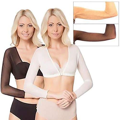 Hunpta@ Body Shaper für Arm Plus Size Seamless Arm Shaper Kurzer Navel Mesh Strickjacke Damen Abnehmen (Schwarz, XL)