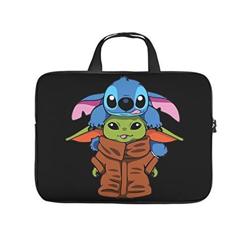 Yoda and Baby Stitch - Funda de transporte para ordenador portátil y tablet, impermeable, portátil, con cremallera, para negocios y viajes, multifuncional para hombres y mujeres