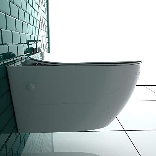 Keramik Wand WC Spülrandlos Hänge WC mit Nanobeschichtung Toilette WC-Sitz aus Duroplast mit Softclose Absenkautomatik passend zu GEBERIT Weiß WC - 3